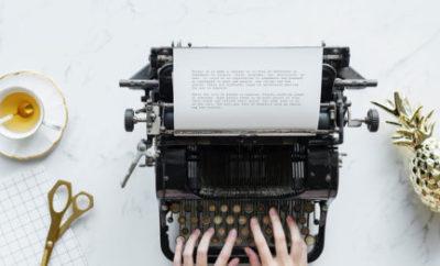 Writing on Typewriter